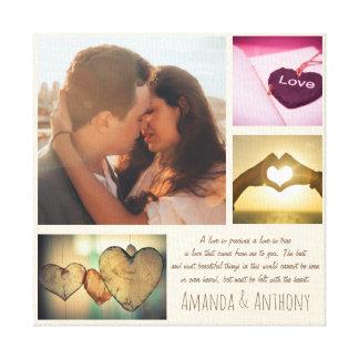 Toile Poème d'amour et collage faits sur commande de