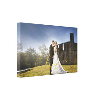 Toile Typographie d'amour d'or de photo de mariage