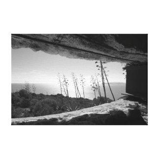 Toile Vue panoramique dans noir et le blanc
