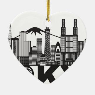Tokyo-Stadt-Skyline-Text Schwarzweiss Keramik Herz-Ornament