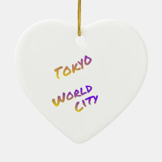 Tokyo-Weltstadt, bunte Textkunst Keramik Herz-Ornament