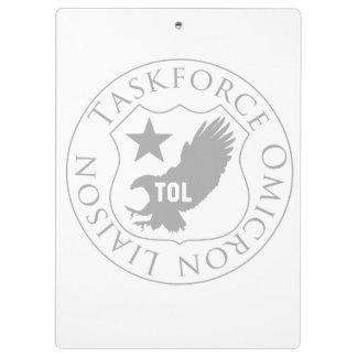 TOL Schild (2), grau auf weißem Klemmbrett