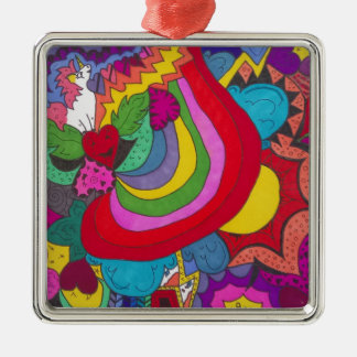 Tolles Muster Prinzessin-Einhorns Silbernes Ornament