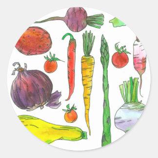 Tomate-Spargel-Rüben-Aquarell-Gemüse Runder Aufkleber
