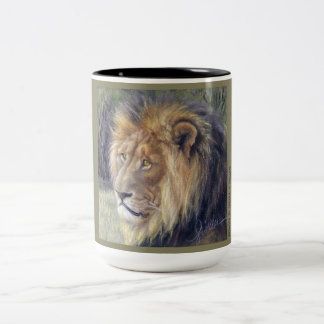 Ton-Tasse der Löwe-Safari 2 Zweifarbige Tasse