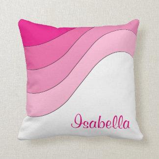 Tonal Wellen-Rosa-Gewohnheit personalisiert Kissen
