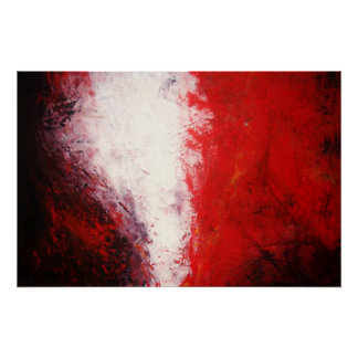 Tons rouges d'impression abstrait de peinture d'or poster