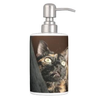 tortie cat soap dispender & tooth brush holder Badezimmer-Set