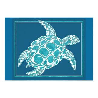 Tortue de mer d'Aqua Carton D'invitation 12,7 Cm X 17,78 Cm