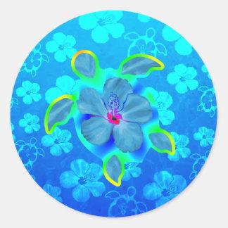 Tortue et ketmie tropicales de Honu Sticker Rond