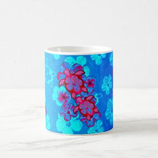 Tortues de Honu et fleurs tropicales de ketmie Mug Blanc