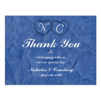 Toskanische blaue Herzen danken Ihnen zu kardieren Postkarte