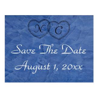 Toskanische blaue Herzen Save the Date Postkarte