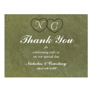 Toskanische grüne Herzen danken Ihnen zu kardieren Postkarte