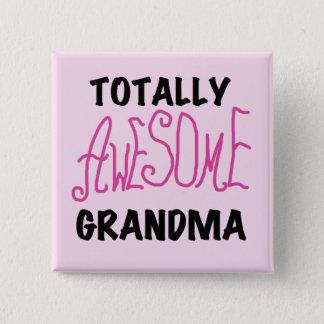 Total fantastische Großmutter - rosa T-Shirts und Quadratischer Button 5,1 Cm
