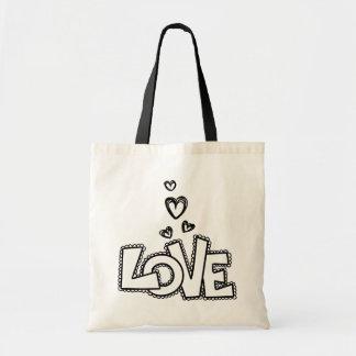 Tote Bag Amour et coeurs noirs de dentelle - mariage