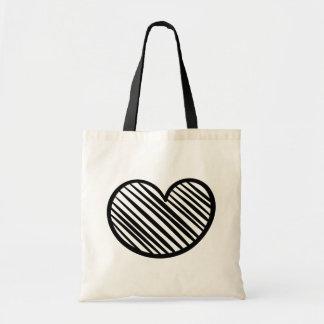 Tote Bag Coeur noir de griffonnage - mariage/douche