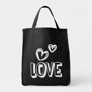 Tote Bag Coeurs noirs et blancs d'amour - mariage, douche