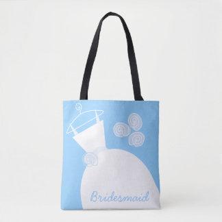 Tote Bag Demoiselle d'honneur bleue de robe de mariage