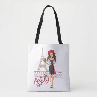 Tote Bag Fille de Paris de mode peinte à la main