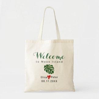 Tote Bag Manuscrit tropical d'accueil de mariage de
