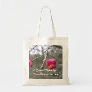 Tote Bag Mariage personnalisé par fleur rose et orange