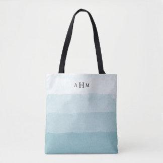 Tote Bag Monogramme d'Ombre d'aquarelle d'Aqua de Seaglass