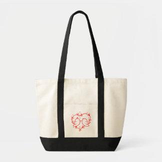 Tote Bag Perruches rouges de coeur - mariage, douche
