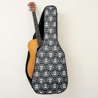 Tote Damast-Zuckerschädel weiß u. schwarzer Gitarrentasche