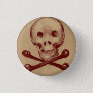 Totenkopf mit gekreuzter Knochen 1 Zoll-runder Runder Button 3,2 Cm