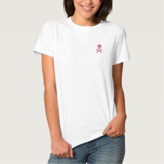 Totenkopf mit gekreuzter Knochen Besticktes T-Shirt