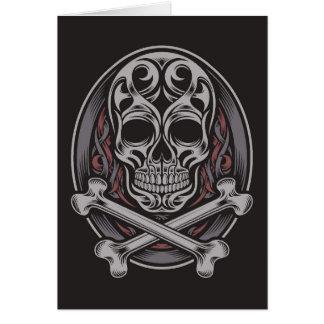 Totenkopf mit gekreuzter Knochen Grußkarte