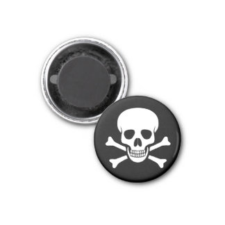 Totenkopf mit gekreuzter Knochen-Magnet Runder Magnet 2,5 Cm