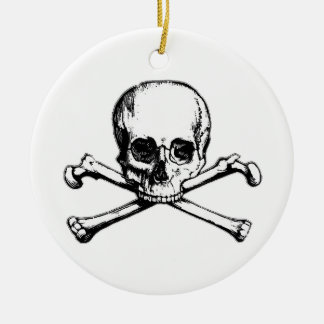 Totenkopf mit gekreuzter Knochen-Piraten-Ikone Rundes Keramik Ornament