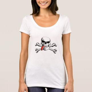 Totenkopf mit gekreuzter Knochen: Zunge heraus T-Shirt