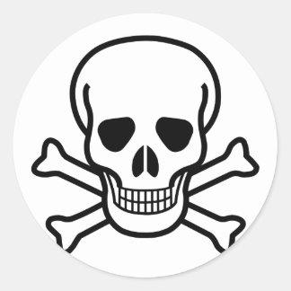 Totenkopf mit gekreuzter Knochentodessymbol Runder Aufkleber