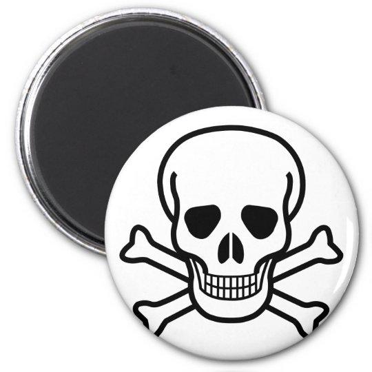 Totenkopf mit gekreuzter Knochentodessymbol Runder Magnet 5,1 Cm