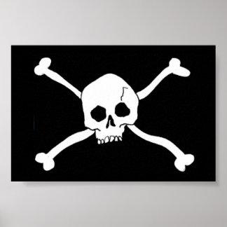 Totenkopf mit gekreuzter Knochenzeichen Poster