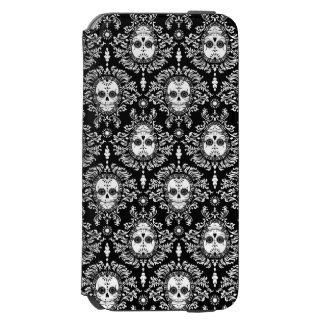 Toter Damast - schickes Zuckerschädel-Muster Incipio Watson™ iPhone 6 Geldbörsen Hülle