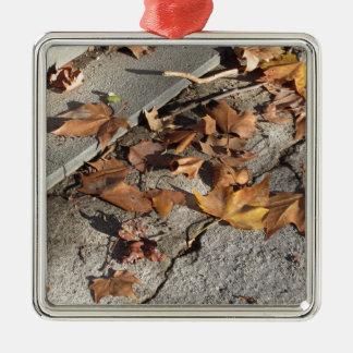 Totes Blätter, das aus den Grund im Fall liegt Silbernes Ornament