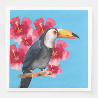 Toucan mit roten tropischen Blumen Papierserviette
