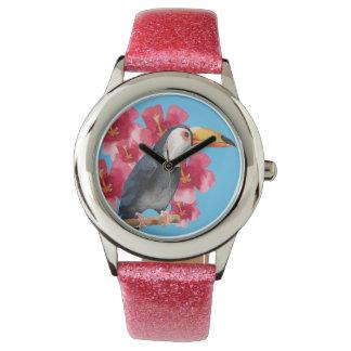Toucan mit roten tropischen Blumen Uhr