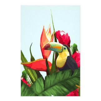 Toucan tropische Banane verlässt Blumenstrauß Briefpapier