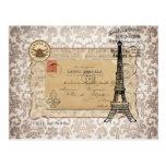 Tour Eiffel chic minable vintage de Paris Carte Postale