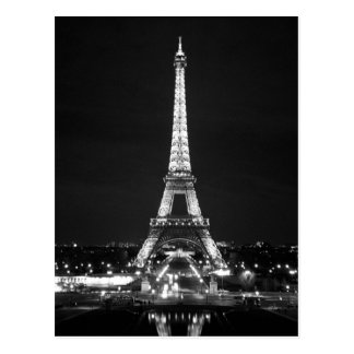 Tour Eiffel la nuit - B/W Carte Postale