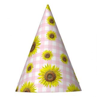 Tournesol de guingan de rose de casquette de fête chapeaux de fêtes