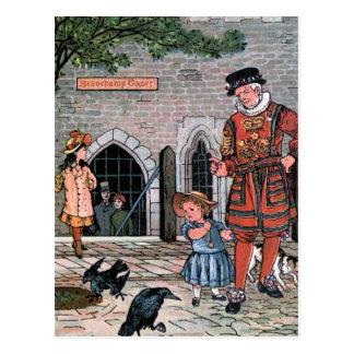 """Tower von London Ravens"" Vintage Illustration Postkarte"