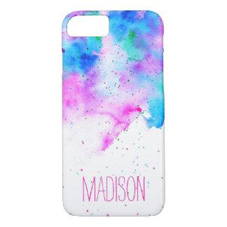 Traçages bleus d'aquarelle de rose fait sur coque iPhone 7