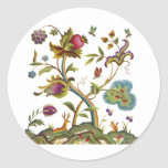 Traditional Jacobean Deerwood Embroidery Round Stickers
