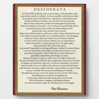 Traditionelle Art-Desiderata-Gedicht durch Fotoplatte